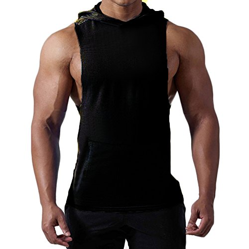 Mens+Tank+Tops Products : Magiftbox Mens Workout Hooded Tank Tops Sleeveless Gym Hoodies with Kanga Pocket _ Cool and Muscle Cut