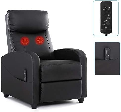 Recliner Chair Massage Recliner Sofa Home Theater Seating Wing Back Single Living Room Reclining Sofa PU Leather Modern Reading Chair Easy Lounge