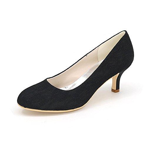 L@YC Frauen High Heels Frühling Herbst Komfortable Synthetische Hochzeit 1195-01a & Abendkleid Fine Heel Black