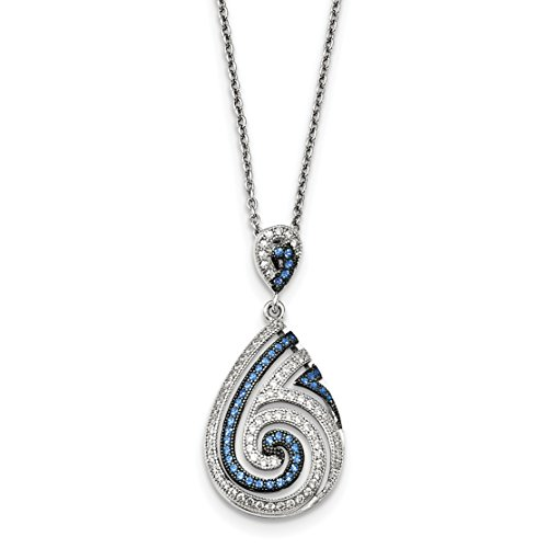 ICE CARATS 925 Sterling Silver Blue Spinel Cubic Zirconia Cz Swirl Chain Necklace Fine Jewelry Gift Valentine Day Set For Women - Cheap Free Day Gifts Shipping Mother's