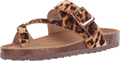 Steve Madden Girls' JWAIVE Flat Sandal, Leopard, 1 M US Little Kid
