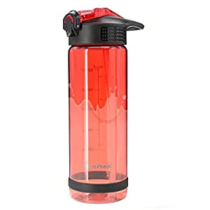 26 Ounce Sports Water Bottle With Silicone Bite Valve-Wide Mouth BPA Free Flip Top With Straw and Handle Leak Proof Made By Tritan-Red