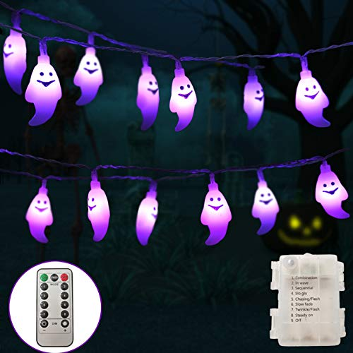 Halloween String Lights, 30 LEDs Ghost Light with Remote, 8 Lighting Modes, Timer and Dimmable, Battery Powered…