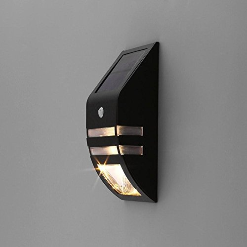 Solar Power PIR Motion Sensor Wall Light Waterproof Warm light Lamp - 6