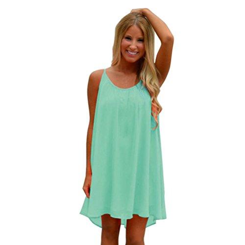 Fashion Women's Strappy Dress,Spaghetti Strap Back Howllow Out Summer Chiffon Beach Short Mini Dresses (Green, L)