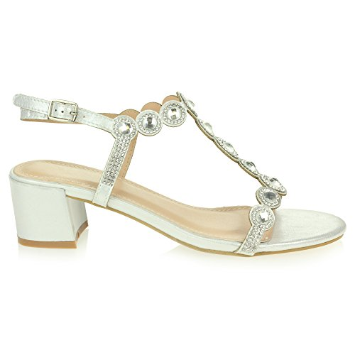 Diamante Party Size Crystal Wedding Womens Shoes Heel LONDON Block Sandals AARZ Bridal Ladies Evening Silver Prom qf8I8Tw