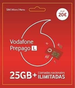 Vodafone Prepago 25GB + Llamadas ilimitadas Nacionales Roaming Europa y EEUU: Amazon.es: Electrónica