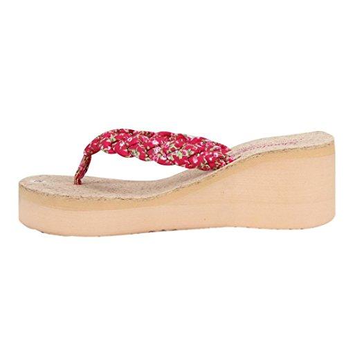 Deesee (tm) Sommer Bohemia Søt Floral Flip Flops Sandaler Klippet Sandaler Strand Sko Hot Pink