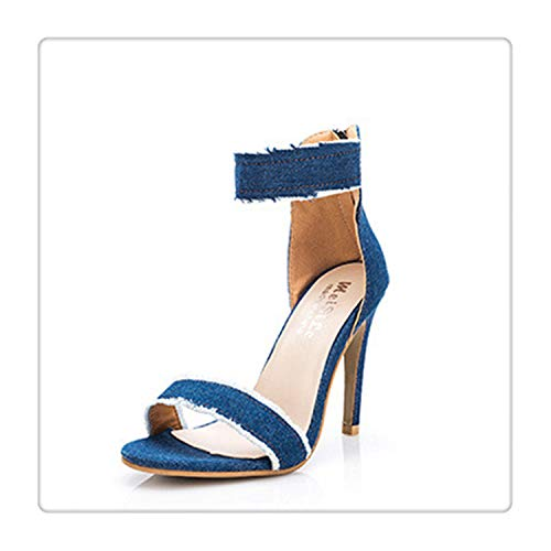 QQFLRB& Summer Fashion Denim 10CM High Heel Sandals Women Sexy Fringe Ladies Thin Heels Non-Slip Classic Sandals Blue 6