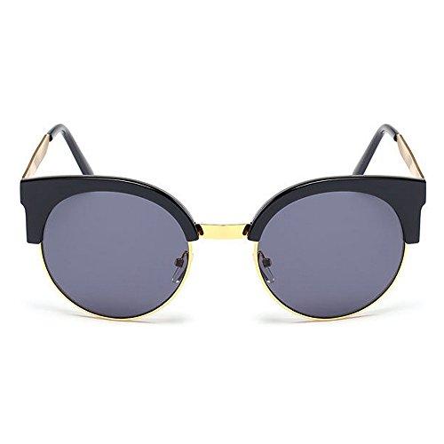 Negro UV Montura Aire Peggy Color Protección Conducción Señora Color de Que Gafas de Gato Gafas Gu la al sin Libre viaja de Mujeres Estilo Sol Plata Ojos Semi para cBwTBfRq8r