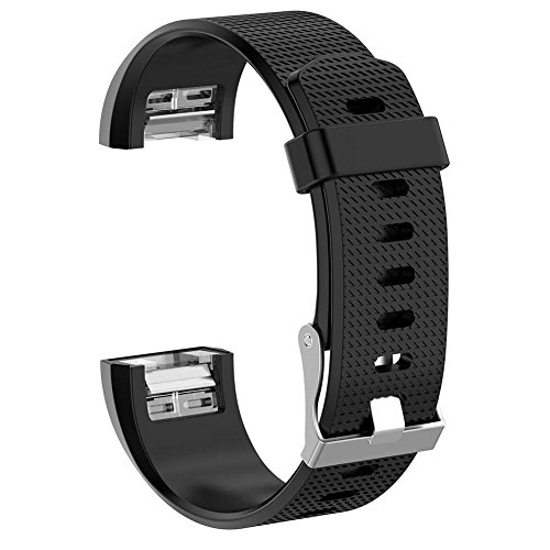 Price comparison product image FINIFLY Silicone Belt Wristband Watch Strap for Fitbit Charge 2(Black S)