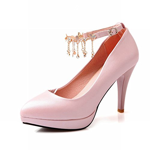Carol Shoes Women's Charm Elegant High Heel Stiletto Platform Chains Court Shoes Pink eu9gw
