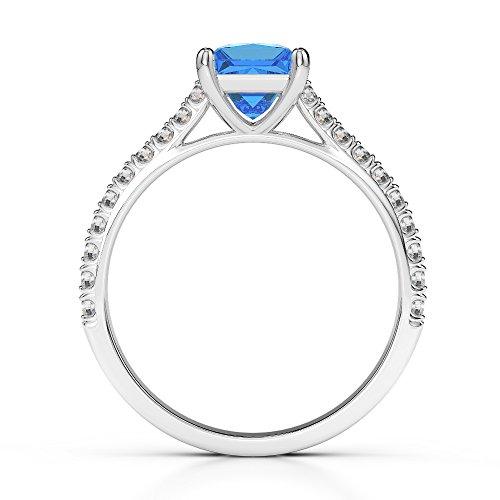 G-H/VS 1CT Coupe Princesse sertie de diamants Topaze bleue et bague de fiançailles en platine 950Agdr-1217