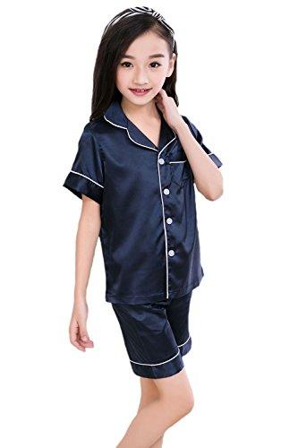 Horcute Pajamas Little Kid Sleepwears Set PJS Clothes Short Sleeve Navy 160# 9-10Y Satin Girls Pajamas