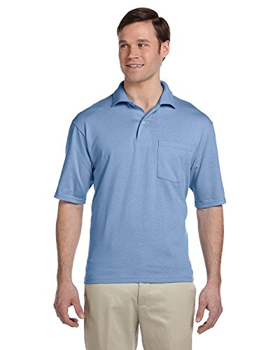 Jerzees 5.6 oz., 50/50 Jersey Pocket Polo with SpotShield, Medium, LIGHT BLUE