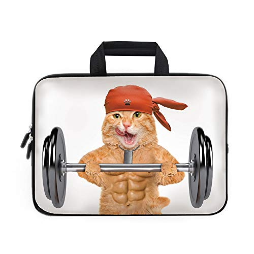 Funny Laptop Carrying Bag Sleeve,Neoprene Sleeve Case/Fitness Cat Lifting A Big Dumbbell Muscled Kitty Body Building Gym Humor Image Decorative/for Apple Macbook Air Samsung Google Acer HP DELL Lenovo