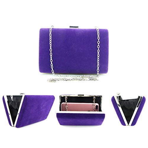 Suede Retro Caja Cuadrada Embrague Señoras Bolso De Tarde Hombro Mensajero Bolso De La Boda Exquisito Purple
