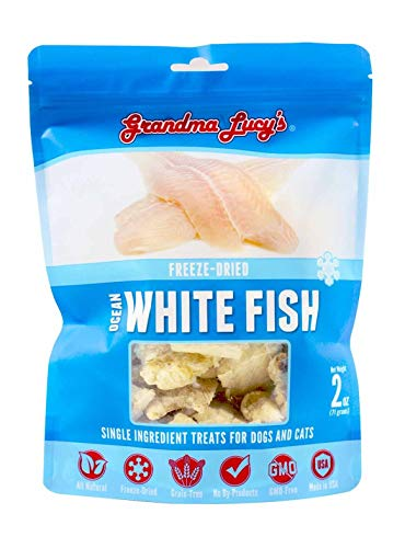 Grandma Lucy's Singles Pet Treat, Freeze-Dried Single Ingredient Treats for Dogs and Cats - Ocean White Fish, 2 oz