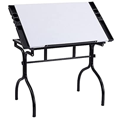 Folding Portable Drafting Drawing Desk 4 Removable Trays Adjustable Tabletop Painting Writing Reading Study Table Foldable Design Art Craft Hobby Studio Architect Office Home Work Steel Construction