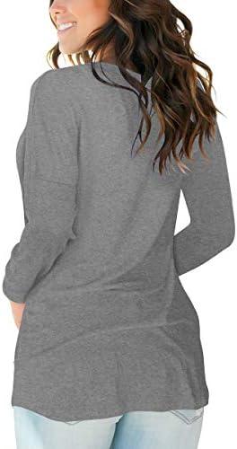 SAMPEEL Womens Crewneck Long Sleeve Shirts for Women Cute Tunic Tops for Women