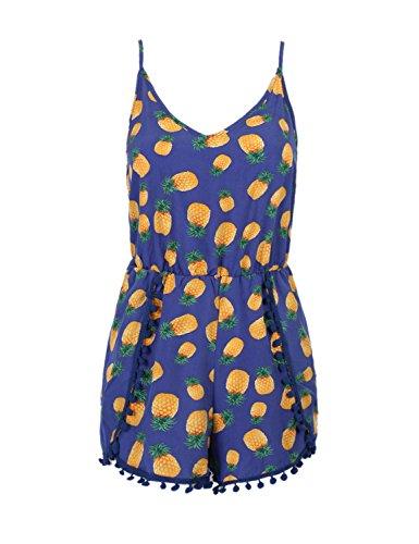 PERSUN Womens V neck Pineapple Playsuit