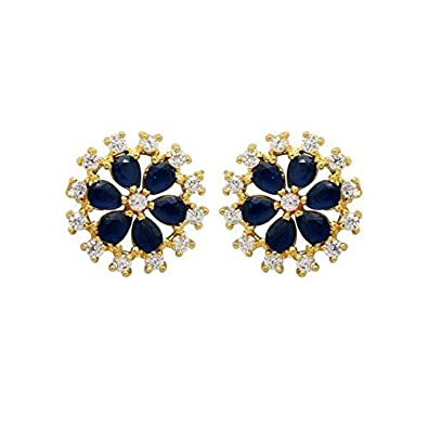 5fa5f8ac2 Buy Saraa Beautiful Gold Plated Flower Design American Diamond Pearl Green Stud  Earrings For Women/Girls (Black) Online at Low Prices in India | Amazon ...
