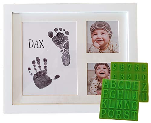 (Ultimate Baby Ink Handprint Footprint Kit & Frame - with Premium Picture Photo Frame, Safe Ink Pad Stamp, Paper & Bonus Stencil. The Perfect Personalized Baby Shower, Newborn Gift Idea)