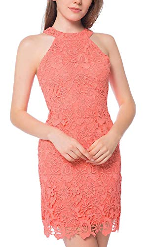 Lamilus Women's Casual Sleeveless Halter Neck Party Lace Mini Dress (Small, Coral Orange)