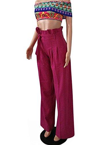 Automne Ceinture Décontracté Élégante Mode Libre Printemps Mignon Pantalon Chic Large Haute Taille Temps Avec Femmes Unie Couleur PqtAx