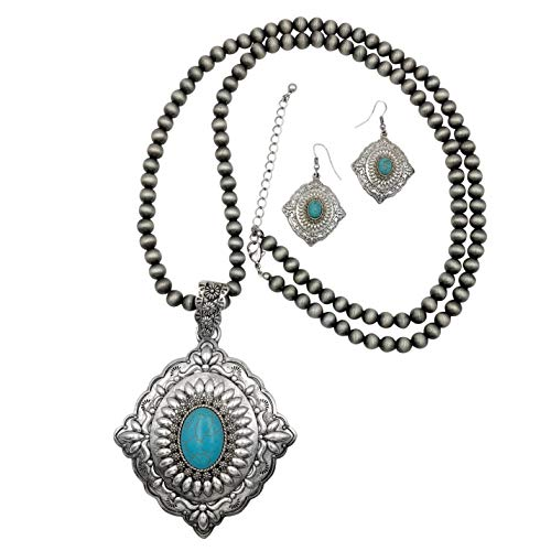 Gypsy jewels Long Chunky Necklace & Earrings Set - Assorted Colors (Imitation Turquoise Concho)