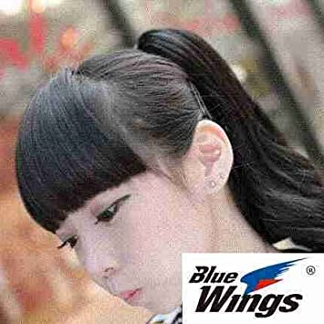 Amazon Com Invisible Seamless Natural Black Wig Bangs On Both