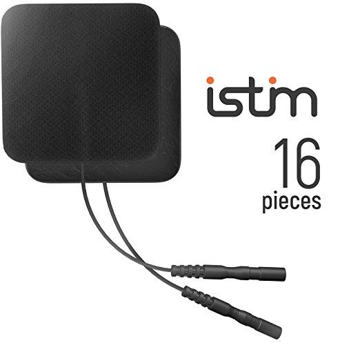 iStim Super Soft 2x2 TENS Unit Electrodes for TENS Massage EMS unit/muscle stimulator - 100% JAPANESE GEL - 16 pieces reusable Electrode Pads (2x2- 16 pieces - BLACK)