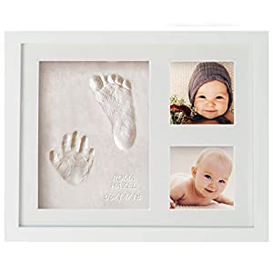 WavHello Baby Handprint & Footprint Frame Kit, Clay Casting & Photo Memory Keepsake Frame, Baby Registry Gift & Baby Shower Gift, Baby Boy Gift & Baby Girl Gift – No Mold – First Impressions
