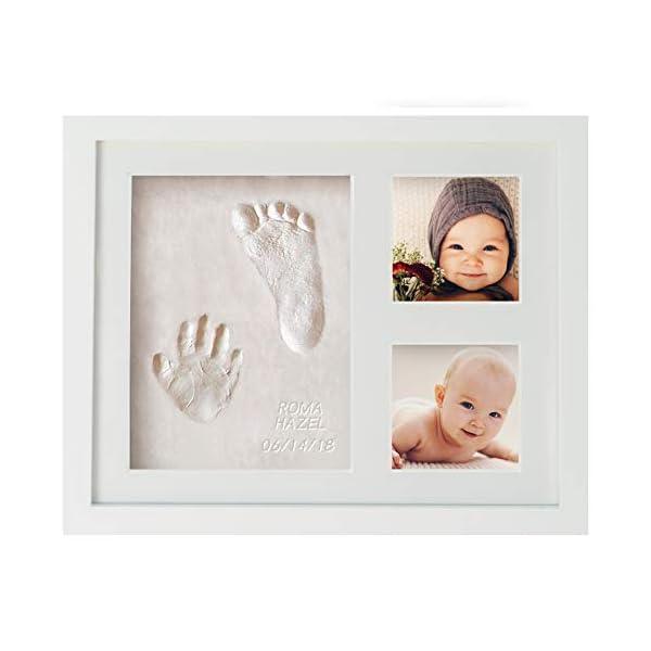 WavHello Baby Handprint & Footprint Frame Kit, Clay Casting & Photo Memory Keepsake Frame, Baby Registry Gift & Baby Shower Gift, Baby Boy Gift & Baby Girl Gift – No Mold – First Impressions