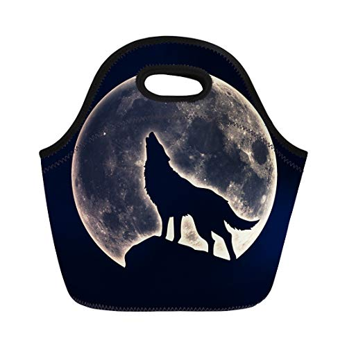 Semtomn Lunch Tote Bag Werewolf Howling Wolf Full Moon Native Wicca Silhouette Magic Reusable Neoprene Insulated Thermal Outdoor Picnic Lunchbox for Men -