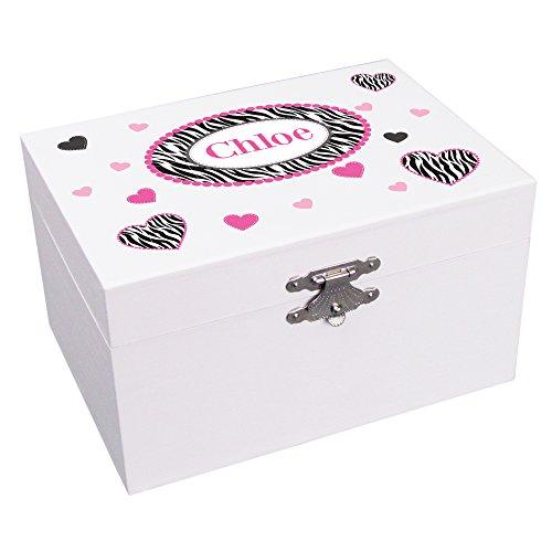 Personalized Zebra Hearts Ballerina Jewelry Box