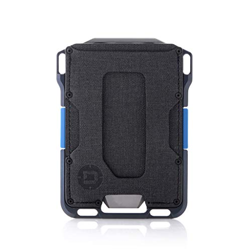 Dango M1 Maverick Blue Line Wallet - CNC-Machined Aluminum, RFID Blocking, Made in USA (Black DTEX/Blue)