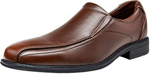 (VEPOSE Men's Slip on Dress Shoes Formal Square Toe Loafer Oxfords(12,Brown) )