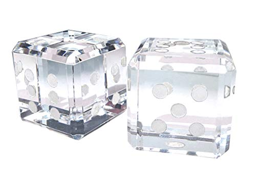 Display Dice (Amlong Crystal Pair of Crystal Dice Paperweight with White Dots 1.5 inches with Gift Box)