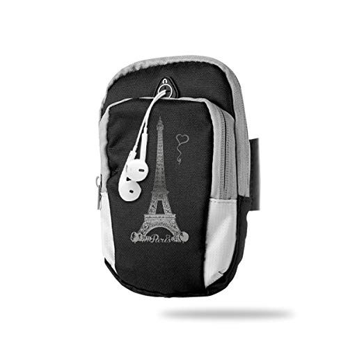 (XUDONGXU Cell Phone Armband Case Holder Paris Phone Holder Pouch with Adjustable Velcro & Key Holder to Hold Money, Cards and Keys for Running & Working Out, Walking, Hiking)