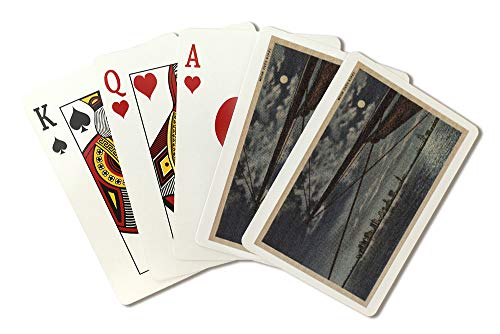 - Miami, Florida - Moonlit View of City Over Water (Playing Card Deck - 52 Card Poker Size with Jokers)