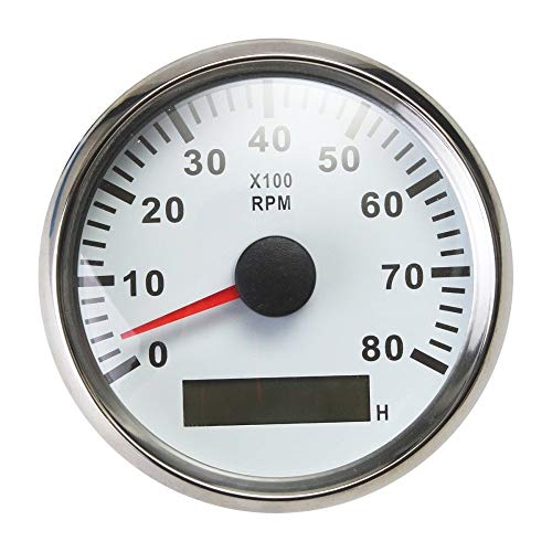 ELING Waterproof Tachometer REV Counter RPM Gauge with Hour Meter 0-8000RPM 85mm 9-32V with Backlight ()
