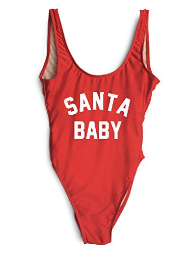 LUXXY Women Santa Baby One Piece Swimwear Christmas Party Sexy Bodysuit Swimsuit]()