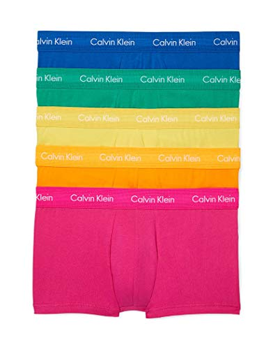 Calvin Klein Men's Underwear Cotton Stretch Low Rise Trunks, Rosy/Lime Punch/Sunglow/Saltwater/Perception, Small