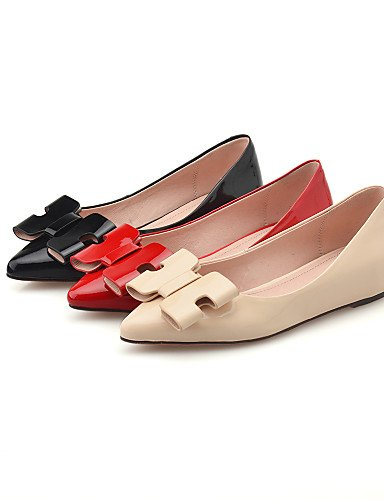 PDX/ Damenschuhe - Ballerinas - Outddor / Büro / Kleid - Leder - Flacher Absatz - Komfort / Spitzschuh - Schwarz / Rot / Beige , red-us7.5 / eu38 / uk5.5 / cn38 , red-us7.5 / eu38 / uk5.5 / cn38