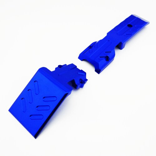 Atomik RC Traxxas Revo 3.3 Nitro Aluminum Alloy Front Skid Plate Hop Up Upgrade, Blue Replaces Traxxas Part 5337 ()