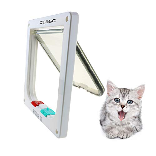 "CEESC Cat Door for Windows & Sliding Glass Door (Outer Size 7.5"" x 7.8"") Weatherproof Pet Door with 4 Way Lock for Cats & Doggy, 3 Sizes and 2 Colors Options"