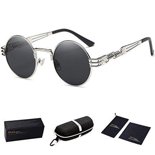 Dollger John Lennon Round Sunglasses Steampunk Metal Classic Frame Mirror Lens(C1:Black Lens+ Silver - Sunglasses Styles All