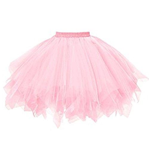 BiBOSS Tutu Skirt for Women Girls Puffy Short Tulle Skirts 1950s Vintage Dance Ballet Skirt Costume Ball Gown Petticoat Skirt (Light (Cute 1950's Costumes)