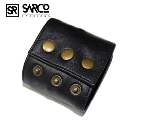 Genuine Leather Bracelet Wristband (SARCO FASHIONS Genuine Leather wristband Bracelet Money Wallets Hidden Cuffs Unisex Wallet Band LARGE Size Fits Wrist 8-9